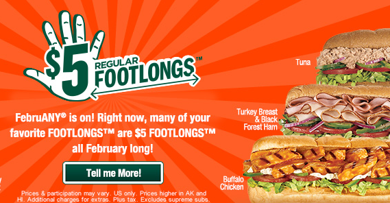 Subway $5 footlongs