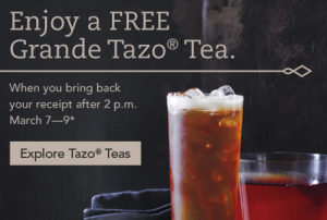 free tazo tea at starbucks