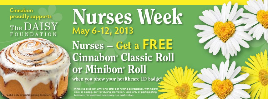 free cinnabon for nurses 2013