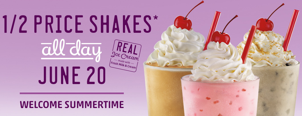 Sonic half price ice cream shakes all day on june 20th cha ching on