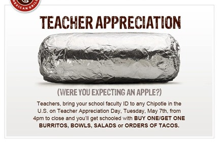 chipotle teacher's appreciation day